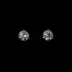 14Karat white gold 1.44ctw I-J/I1 diamond stud earrings with screw backs. $3500