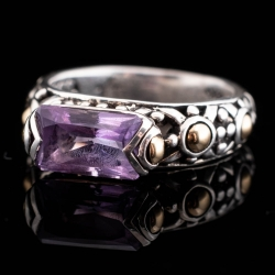 Sterling silver John Hardy Ring with 18k Yellow Gold Accents. Amethyst. $425