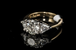 18Karat Yellow gold / Platinum RBC 2.01ct G/SI1 EGL Trillion .91ct ring. $18,000