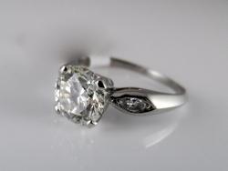 Platinum round brilliant cut diamond 1.70ct K/SI2 ring. $7500
