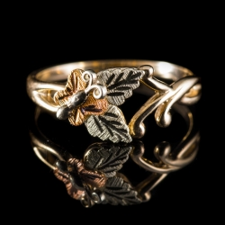 10 Karat Tri-Color Gold Ring With Leaf and Butterfly Carvings. $100