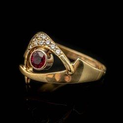 Ladies 18k Yellow Gold Rubellite and Diamond Fashion Ring. $1000