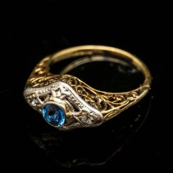 Ladies 14k/Platinum Ring with Blue Sapphire and Diamonds, Filagree work on sides $650