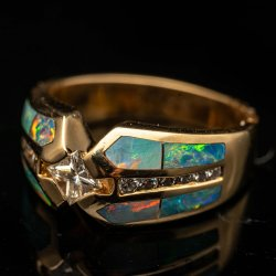 Ladies 14k Yellow Gold Ring with Inlaid Man-made Opal and Genuine 1/3ct G, SI1 Diamond. $700