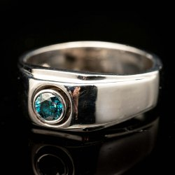 Gents 14k White Gold Blue Diamond Ring. Approx .40ct $1000