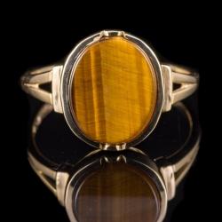 14Karat yellow gold tiger eye ring. $175