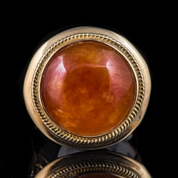 14Karat yellow gold red/orange jade ring. $200