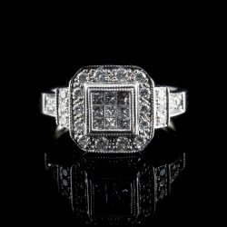 14 Karat White Gold invisible Set Diamond Ring $1200