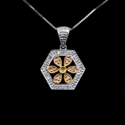14 Karat Tricolor Gold Diamond Pendant $415