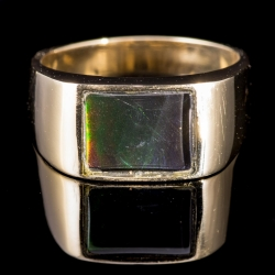 14 Karat Yellow Gold Ring with Ammolite $400
