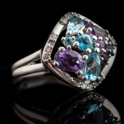 14k White gold Amethyst, Blue Topaz and Diamond Ring. $800