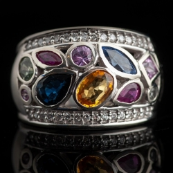 14k White Gold Multi Color Sapphire/ Diamond ring. $750