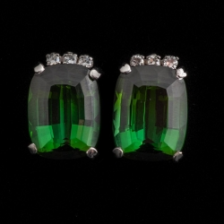 18K white gold, Green Tourmaline and Diamond ring and matching Earring set. $1500
