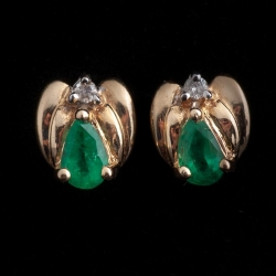 14k Yellow Gold Emerald and Diamond Earrings. $275
