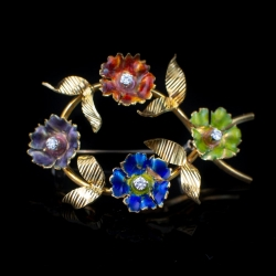 18k Yellow Gold, Enamel and Diamond Pin. $400