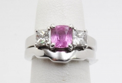 White gold pink sapphire and diamond ring with matching band. $2400