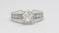 14Karat white gold radiant cut 1.01ct I/SI1 IGI certified (copy cert) diamond channel ring. $3500