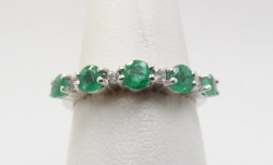 14Karat white gold emerald and diamond ring. $400