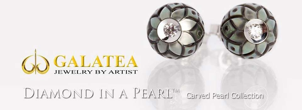 Galatea Diamond in a Pearl from the Carved Pearl Collection